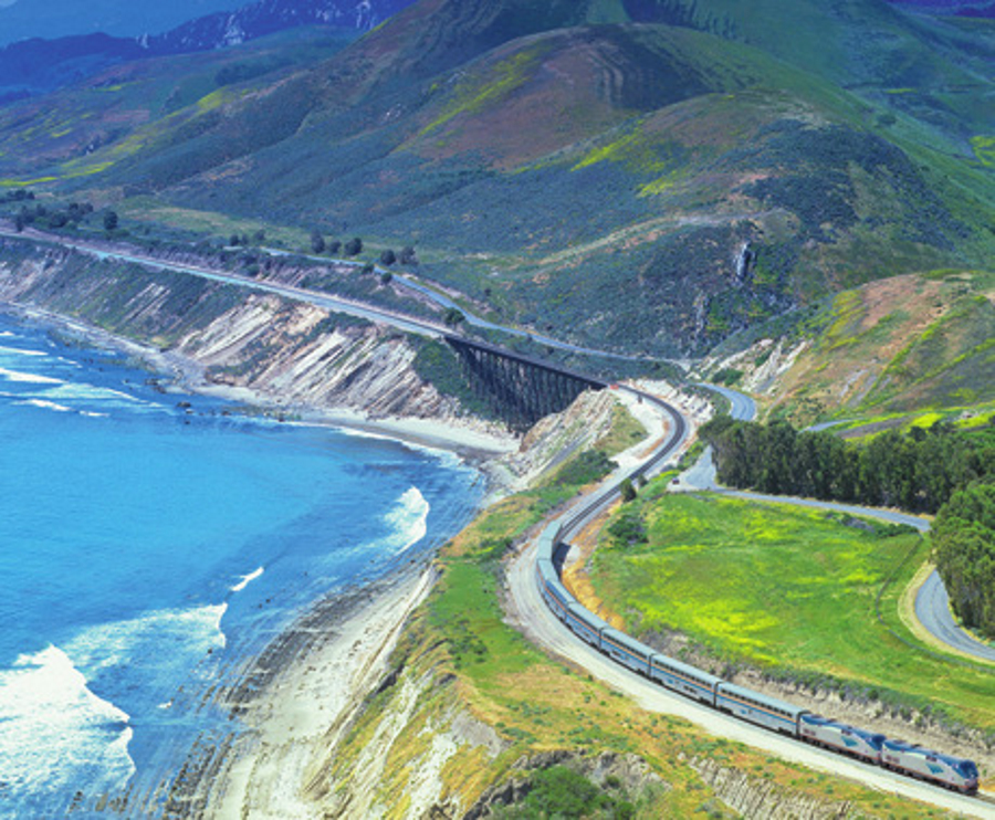 The Coast Starlight Amtrak train between Seattle and Los Angeles