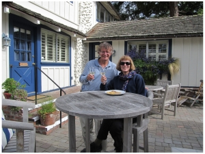 Mike and Donna at the Lamp Lighter Inn, Carmel-by-the-Sea
