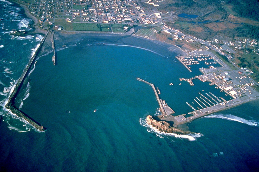 Aerial view of Crescent City and its harbor in northern California