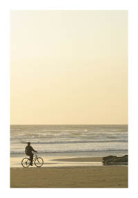 Cycling on the Oregon coast at sunset