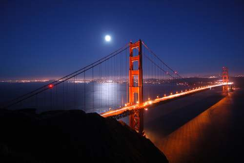 The Golden Gate Bridge by moonlight, from http://www.pacific-coast-highway-travel.com/Cheap-Flights-to-San-Francisco.html