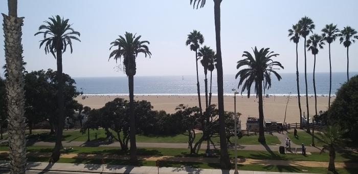 View of the Pacific Ocean from Hotel Shangri-La in Santa Monica, California.