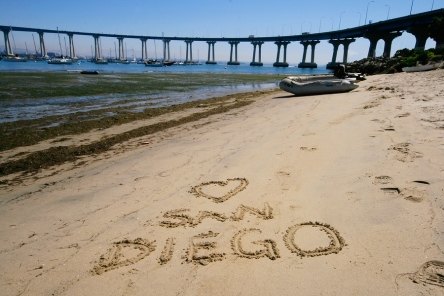I Heart San Diego written in sand.