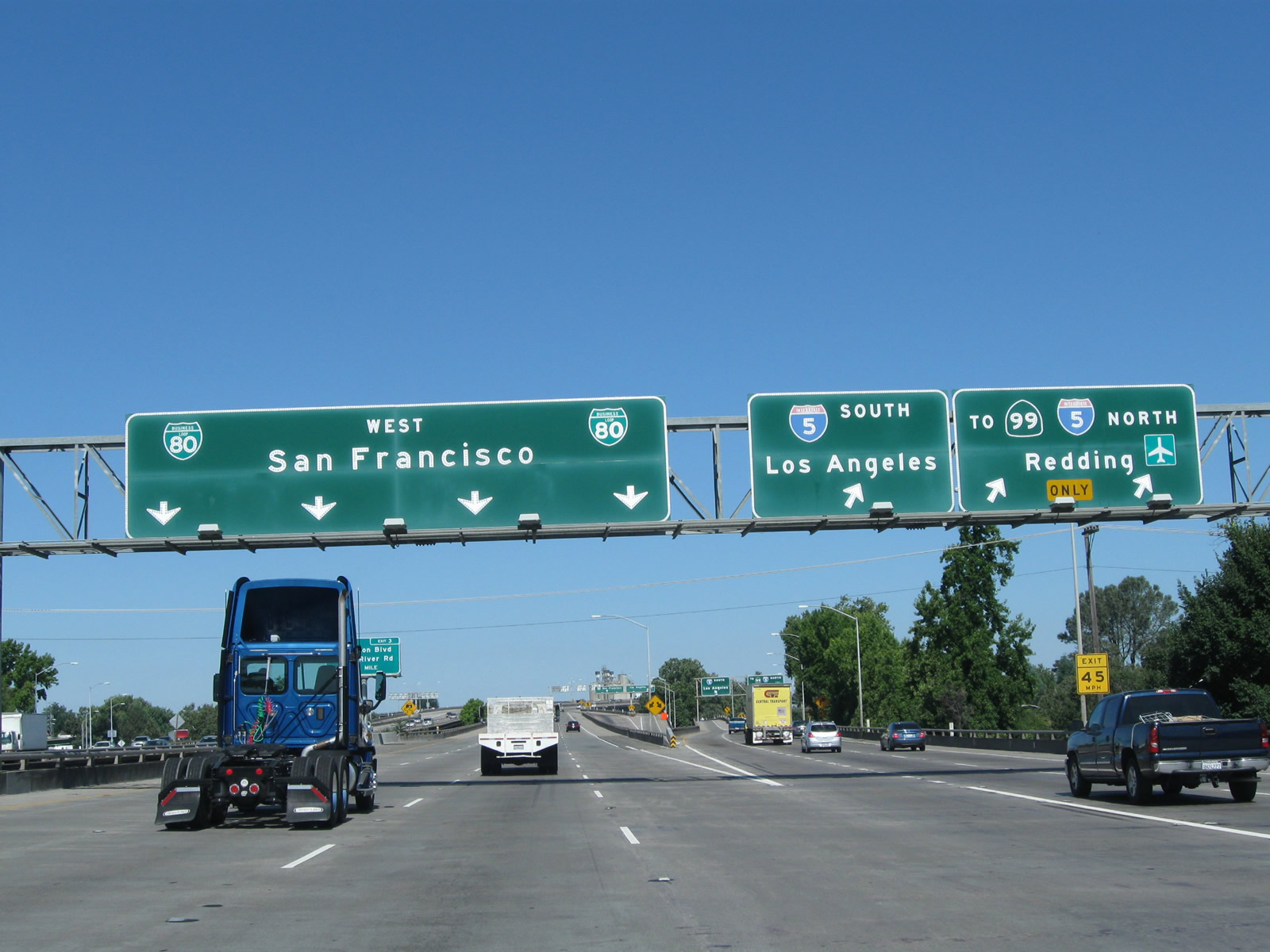 Road signs in California for I-5 South
