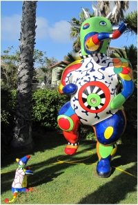 Niki de Saint Phalle statue in the sculpture garden at La Jolla's Museum of Contemporary Art, photo (c) Donna Dailey.