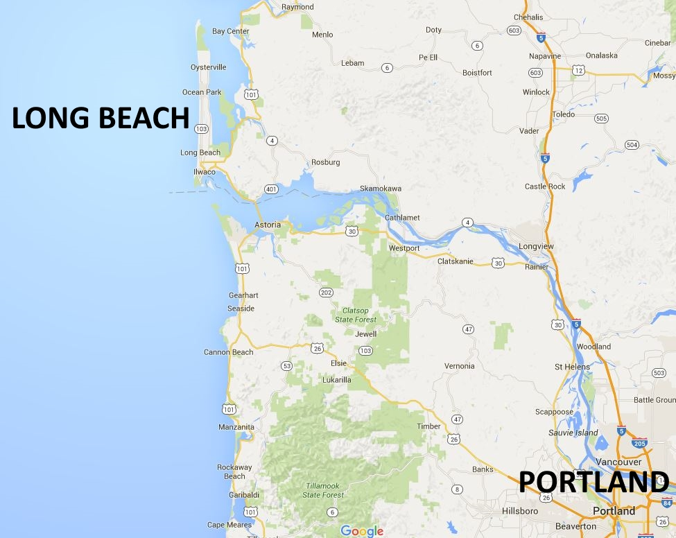 Google Map showing Long Beach in Washington, maybe the Longest Beach in the USA