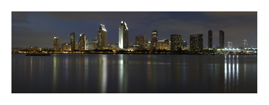 San Diego skyline at dusk, from http://www.pacific-coast-highway-travel.com/San-Diego.html