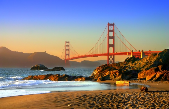Baker Beach and the Golden Gate Bridge in San Francisco, from http://www.pacific-coast-highway-travel.com/San-Francisco.html