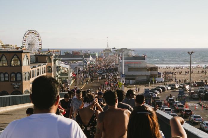 People Entering Santa Monica Pier