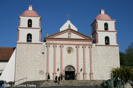 Santa Barbara Mission, photo (c) Donna Dailey, pinned from http://www.pacific-coast-highway-travel.com/Santa-Barbara-Historical-Museum.html