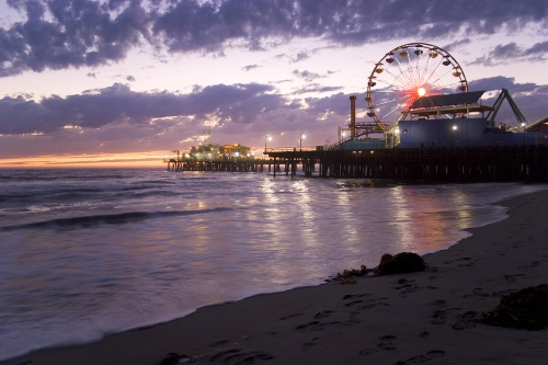 Sunset at Santa Monica Pier in California, from http://www.pacific-coast-highway-travel.com/Santa-Monica-California.html