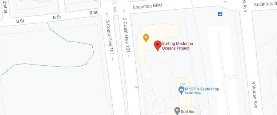Google map showing location of Surfing Madonna in Encinitas
