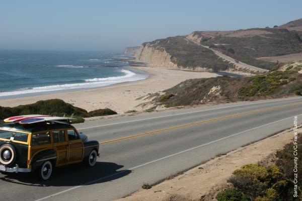 A Woodie on the Road near Santa Cruz, from https://www.pacific-coast-highway-travel.com/Santa-Cruz.html