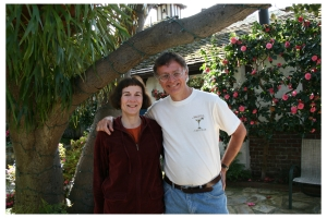 Mike and Donna enjoying the Vagabond's House Inn Bed and Breakfast in Carmel-by-the-Sea, California