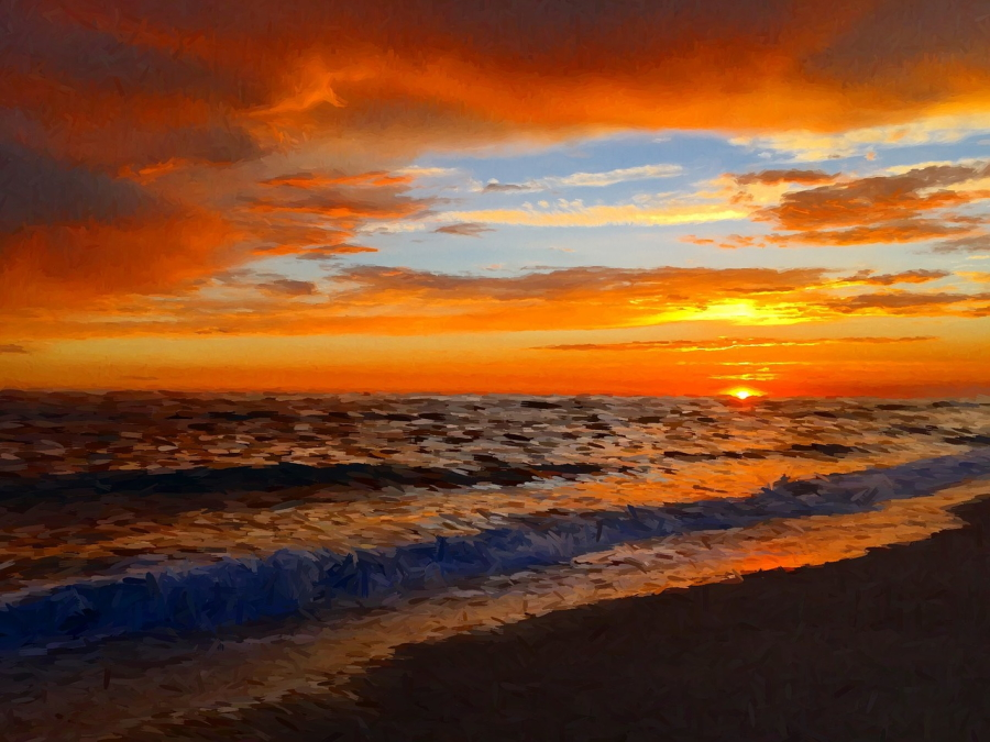 Sunset over the Pacific Ocean in Carlsbad, California
