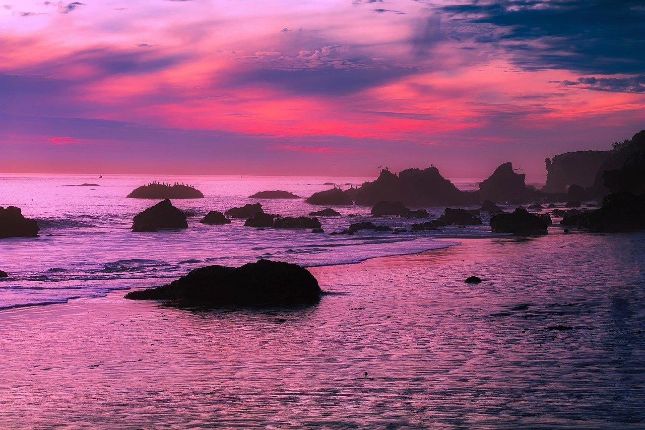 Sunset over the beach in Malibu, California
