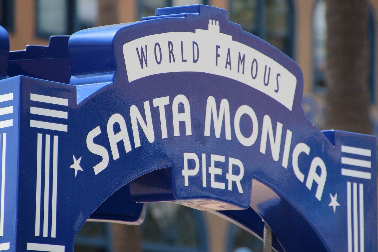 The Entrance Sign for Santa Monica Pier