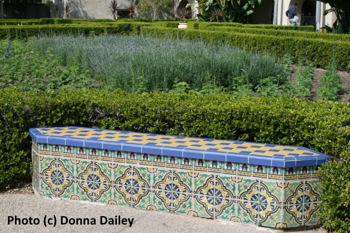 A tiled seat in Balboa Park, San Diego, California