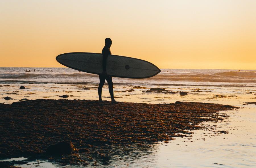 Surfer at Sunset in Encinitas