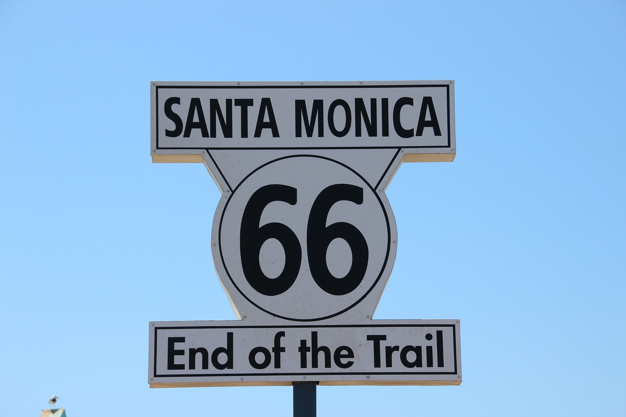 Sign marking the end of Route 66 in Santa Monica