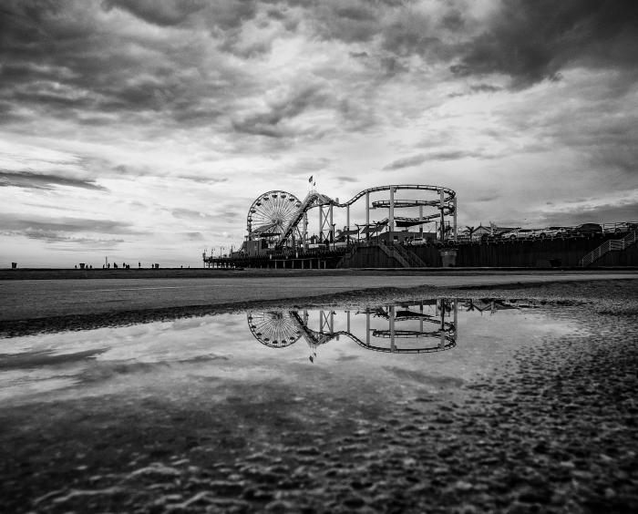 Santa Monica Pier in Monochrome