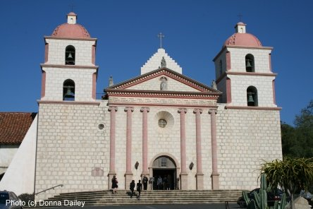 Santa Barbara Mission, photo (c) Donna Dailey, pinned from https://www.pacific-coast-highway-travel.com/Santa-Barbara-Historical-Museum.html