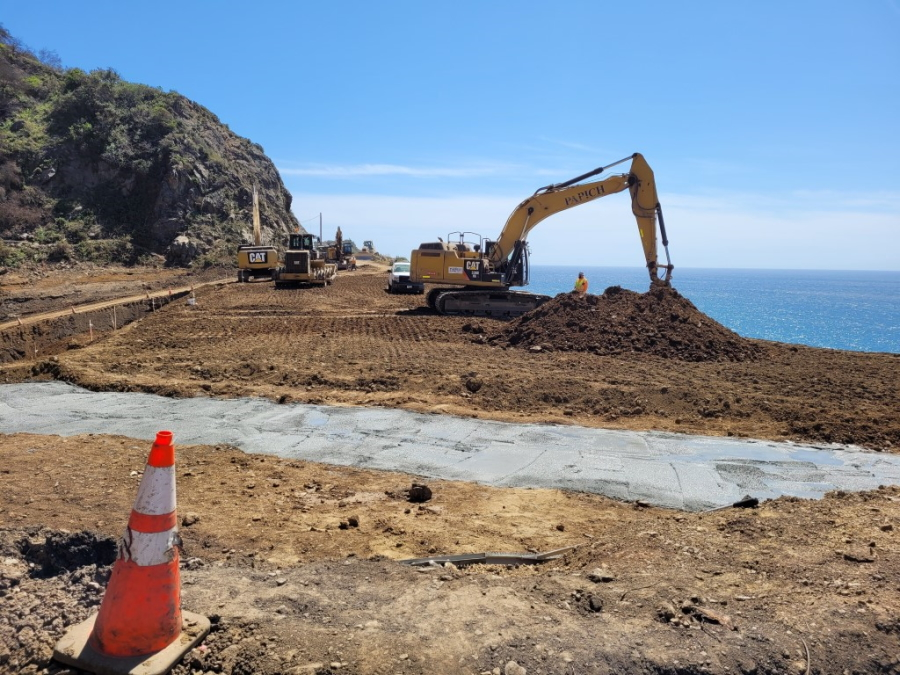 Repair work being done to enable the Pacific Coast Highway to reopen