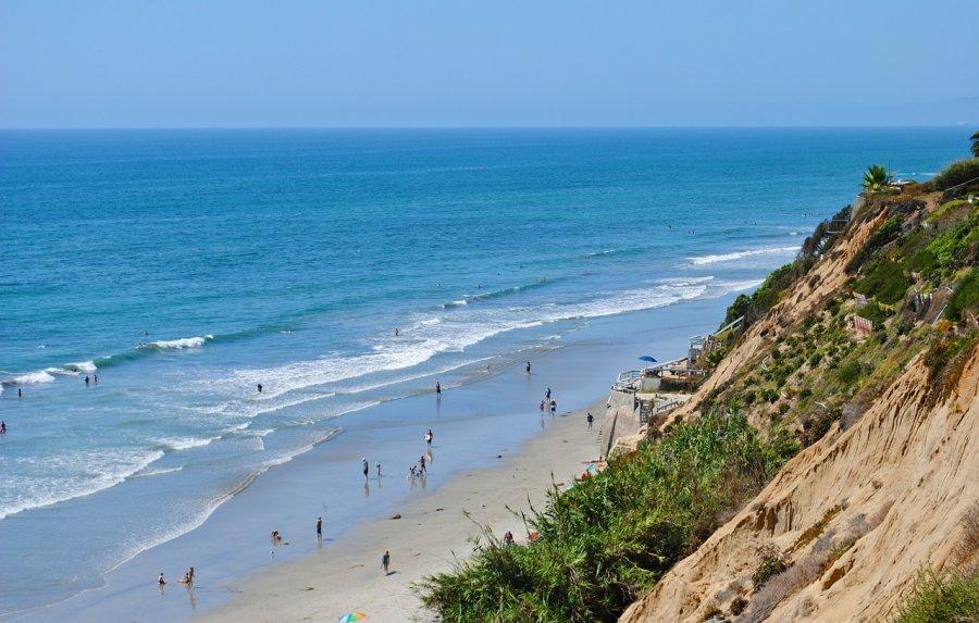 Beach and cliffs in Carlsbad, California