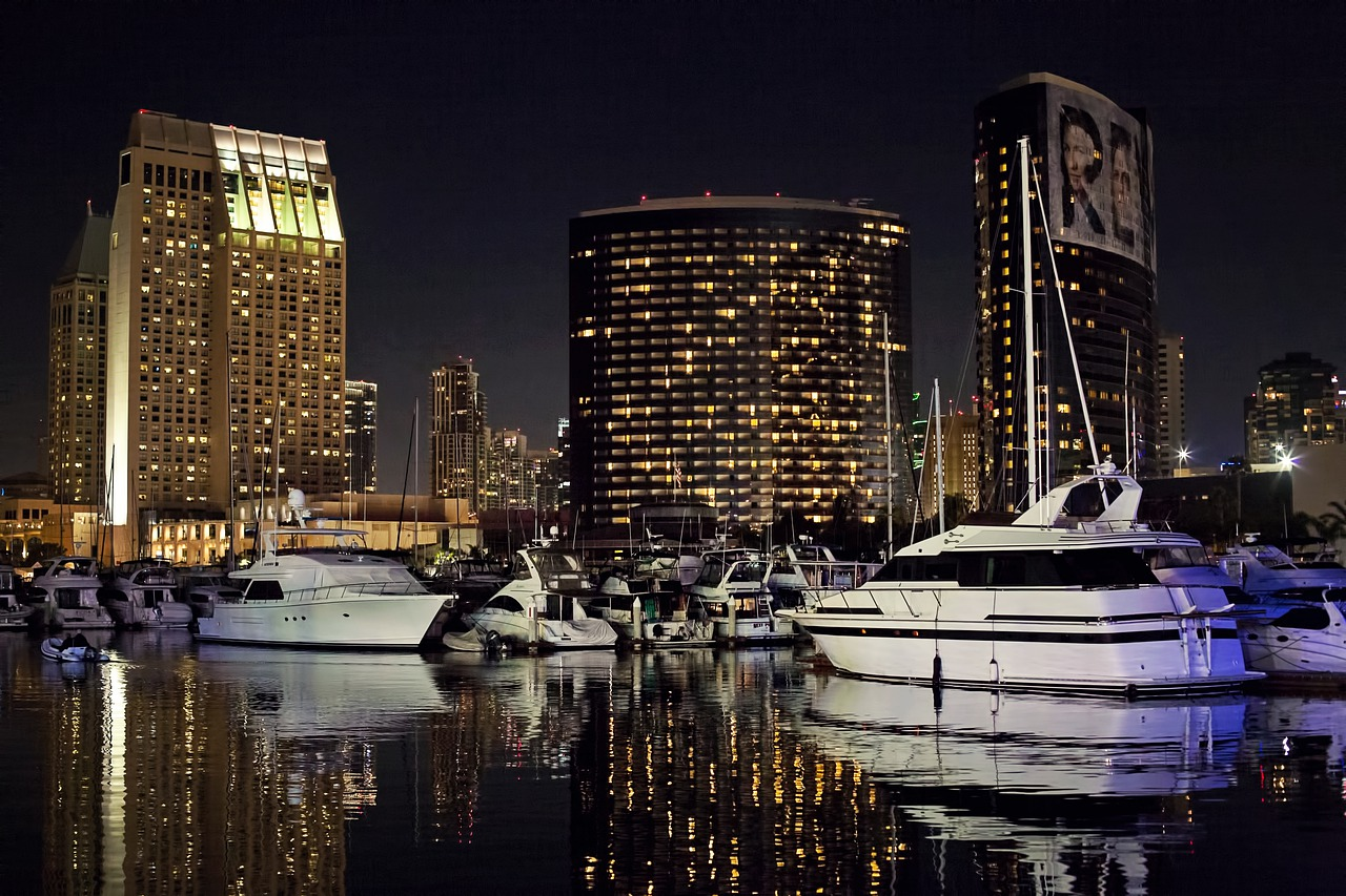 The San Diego Waterfront at Night